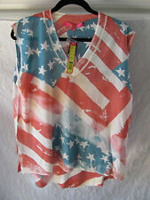 Catherine Malandrino V-Neck Knit Top-American Flag-Red/White/Blue-Sz XS-NWT $128