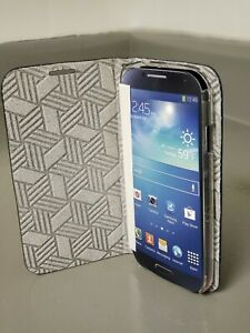 Leather Card Fold Slim Wallet Diary Stand Flip Case for Galaxy S4 (Navy)