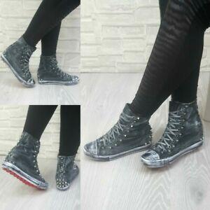 Scarpe Donna Ginnastica Sneakers Casual Zeppa Tela Borchie Vintage RQS