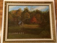 Retro Framed Signed Craine Oil Painting Shed Landscape Vintage