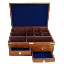 Große und dekorative Utensilien Box aus Holz mit Messing - sc-9309