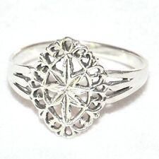 Bague vintage argent massif 925 motif filigrane T 54 bijou ring