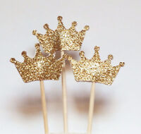 24pcs Gold Glitter Crown Cupcake Toppers Baby shower Wedding Picks Party