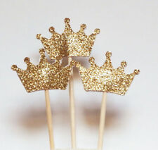 24pcs Gold Glitter Crown Cupcake Toppers Baby shower Wedding Picks Party nEW