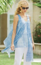 Soft Surroundings Size Medium Left Bank Tank Blue Flowy Tunic Sleeveless Top