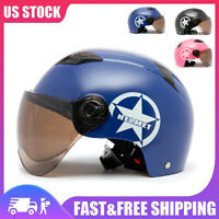 Motorcycle Half Open Face Helmet Shield Visor Adjustable Protection DOT