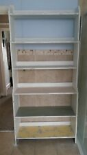 SHABBY CHIC LARGE WHITE BOOKSHELF WITH 6 DIFFERENT COLOURED SHELVES