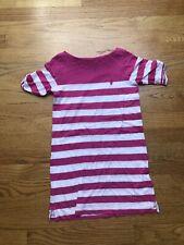 Ralph Lauren Girls Dress Pink and White Striped  Size 7 Short Sleeve Knit
