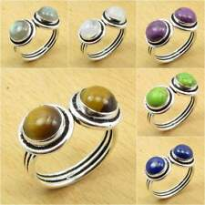 Natural TIGER'S EYE & Other Stones Variation, 925 Silver Plated ADJUSTABLE Ring