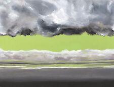 LARGE ORIGINAL ABSTRACT GREEN PAINTING modernism modern art bright green NEW O/C