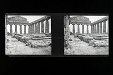 Paestum Italie Italia Plaque de verre stereo NEGATIF 1911