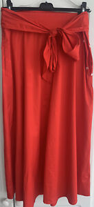 LK Bennett Darly Red Cotton Belted Skirt Size 16 RRP £145 99p No Reserve!