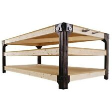 Work Bench Table Kit Garage Heavy Duty Shelves Wooden