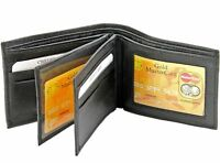 New Mens Genuine Leather Wallet Bifold ID Holder Credit Card Center Flip Window