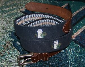 PETER MILLAR Canvas Leather Needlepoint Golf Belt WHITE MANOR COUNTRY CLUB Sz 40