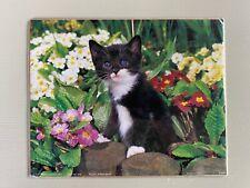 Vintage Poster Black & White Cat Kitten in Flowers 1995 Prestige Graphics Nos