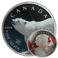 POLAR BEAR 2015 1 oz Colored Silver Maple Leaf Coin w/ Capsule Antique Finish