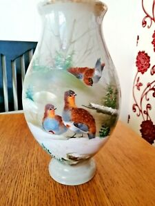 ANTIQUE OPAQUE GLASS LARGE VASE WITH HAND PAINTED WINTER BIRD SCENE
