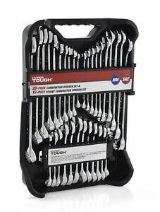 Hyper Tough 32 Piece Combination Wrench Tool Set Mechanics SAE Standard Stubby