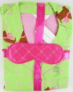 NWT Charter Club Lime Green Polka Dot Scottie Dog Flannel Pajama Set, M or L $45