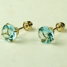 14k solid yell. gold 6mm Aquamarine stud screw back gorgeouse earrings 1.75 tcw