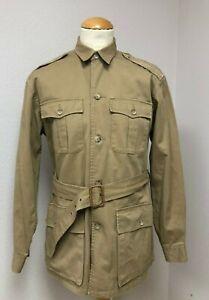 RARE Vtg Polo Ralph Lauren Safari Hunting Jacket M Belted Epaulets Bellows Pkts