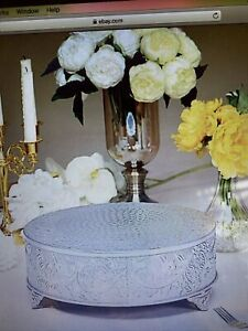 14-Inch Silver wide Round Embossed Cake Stand Riser Wedding Decorations SALE