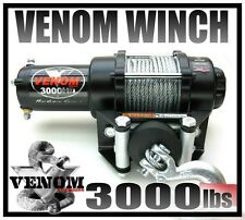 3000LB VENOM ATV WINCH 3000 LB BRAND NEW WATERPROOF KIT FULL METAL HOUSING