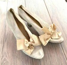 Antique Victorian 1870's White Leather Wedding Shoes John Wanamaker