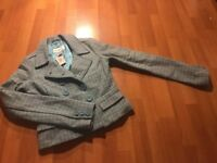 Abercrombie & Fitch Women's Blue Wool Blend Lined Crop Blazer Size Medium M New