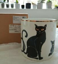 H&M HOME Porcelain Cat Plant Pot Planter WHite Black Gold