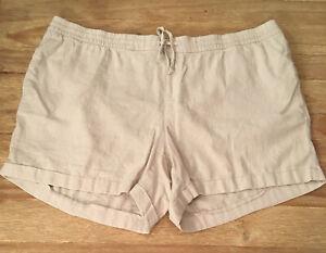 Old Navy Womens 3X Plus Ivory Beige Drawstring Elastic Waist Linen Blend Shorts