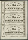 1862 City of Richmond 3-Note Currency Sheet – Printing Error on Center Note