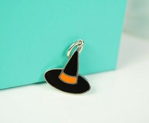 Tiffany & Co. Orange & Black Enamel Witch Hat Charm Pendant w/ Box