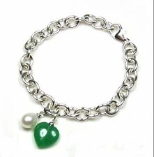 Jade Heart and Pearl Link Solid Sterling Silver Bracelet 7""