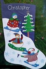 Embroidery Felt Kit Winter Games Stocking Snowman Snowmen