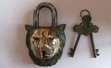 """Antique Look Door Pad Lock Lion Figurine 5.5"""""""