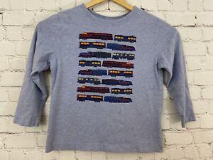 Hanna Andersson Train Shirt Boys Blue Train Long Sleeve Top Sz 5 110