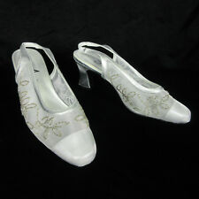 Womens Annie Shoes 7.5 Silver Mesh Beaded Slingback Bridal Wedding Formal Heels