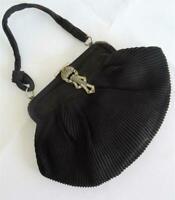 Vintage Purse Bag 1930s Art Deco Flapper Pleated Black Crepe Marcasite Set Clasp