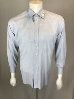 Men's IKE Behar New York 15 1/2 33 Medium Periwinkle Grid Graph Checked Shirt