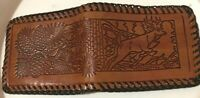 Vintage Hand Tooled Stamped Leather Whip Stitched Wallet - Deer Run & Pine Cone