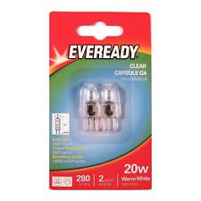2 x EVEREADY G4 20W Halogen Capsule Bulb CLEAR 280 Lumens 12V Lamp