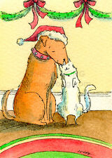ACEO PRINT - A friendly kiss - art, painting, drawing, dog, cat, pets, Christmas