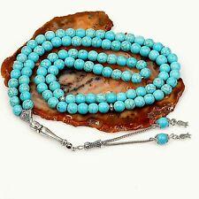 Turquoise Firuze, Islamic Prayer 99 beads, Tasbih, Misbaha, Rosary, Tasbeeh, 8mm