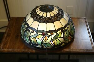 Dale Tiffany Signed Style Stained Glass Lamp Shade Jeweled
