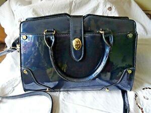 Blue Patent Leather Colette Green Handbag