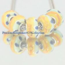 "*FIVE~Murano Glass Beads ""Orange & Green Multi"" Sterling Silver non thread core"