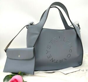 AUTH NWT $915 Stella McCartney Logo Faux Leather CrossBody Tote In Cameo Blue