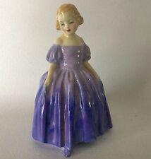 ROYAL DOULTON Bone China MARIE HN1370 Girl Figurine Purple Dress England Vintage